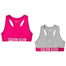 Calvin Klein Pink and Grey Branded 2-Pack Bralettes
