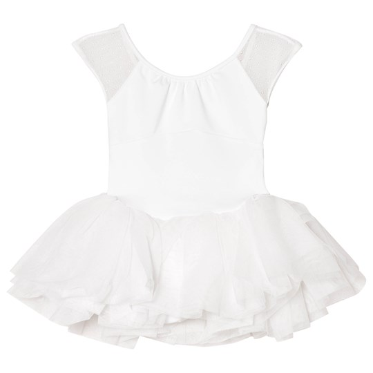 Bloch White Jemima Mesh Back Bow Tutu Leotard White