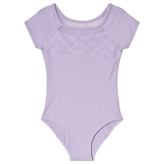 Bloch Lilac Brielle Diamond Flocked Mesh Front and Back Leotard Lilac
