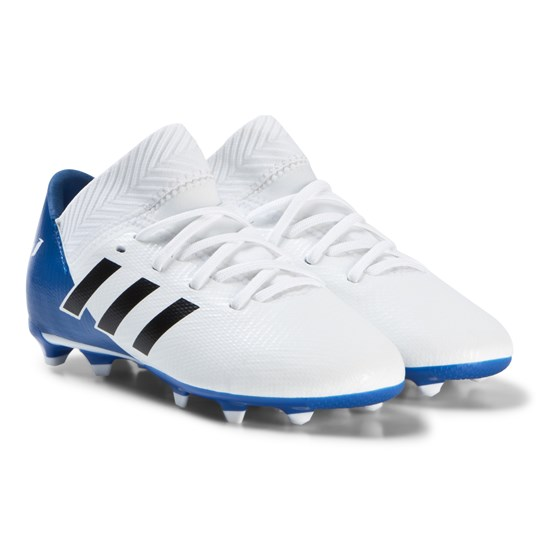 adidas Performance White and Blue Nemeziz Tango 18.3 Firm Ground Soccer Boots ftwr white/core black/football blue