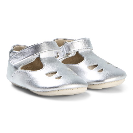 Young Soles Silver Nubuck T Bar Baby Shoes SILVER LEATHER