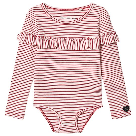 Pepe Jeans White & Red Stripe Judith Ruffle Long Sleeve Body 803