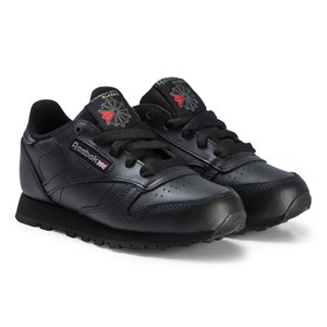 Image of Reebok Black Classic Leather Sneakers 34.5 (UK 3) (3125293577)