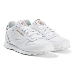 Reebok White and Gold Classic Sneakers
