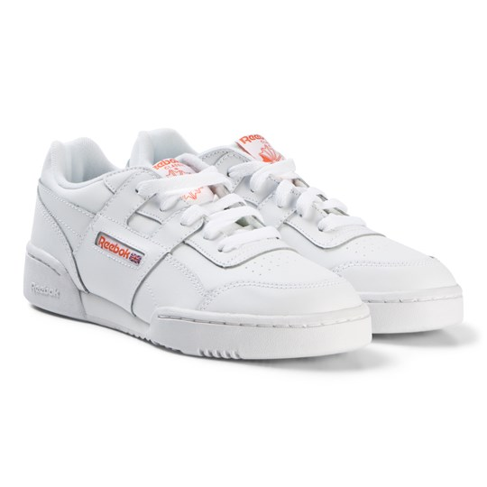 Reebok White Workout Plus Sneakers FCU-WHITE/BRIGHT LAVA