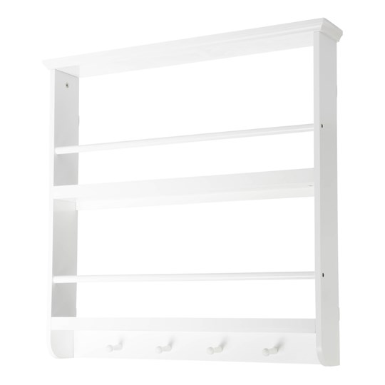 JOX Wall Shelf with Hooks White