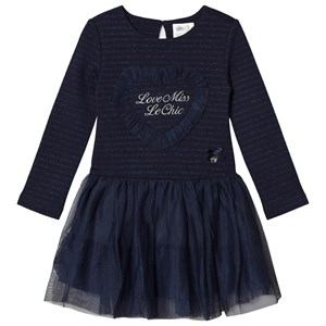 Image of Le Chic Navy Glitter Tulle Skirt Dress 164 (13-14 years) (1128421)