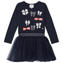 Le Chic Navy Petitcoat Sweat Dress with Bow Pattern