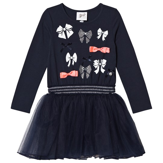 Le Chic Navy Petitcoat Sweat Dress with Bow Pattern Navy