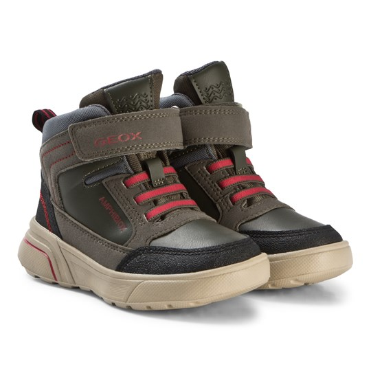 Geox Military Green and Red Sveggen Amphibiox Boots CA37M