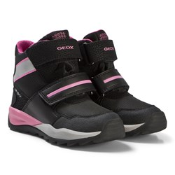 Geox Black and Pink Amphibiox Snow Boots