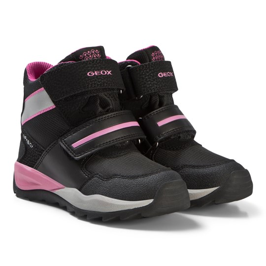 Geox Black and Pink Amphibiox Snow Boots C0922