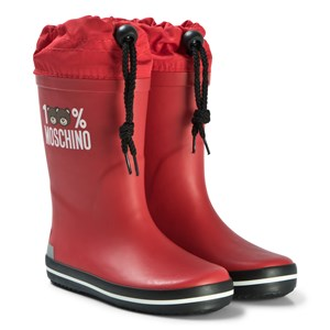 Moschino Kid-Teen Red Bear Print Welly Boots 30 (UK 12)