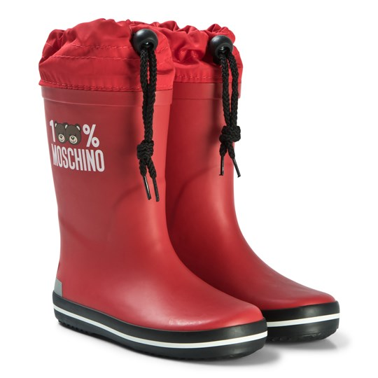 Moschino Kid-Teen Red Bear Print Welly Boots 9103