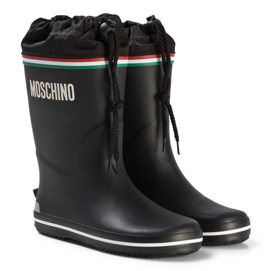 Moschino Kid-Teen Black Logo Wellington Boots 01