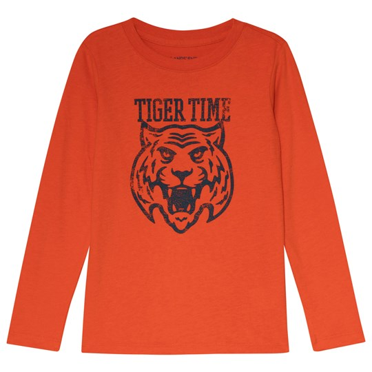 Lands' End Orange Tiger Time Long Sleeve Tee A7A