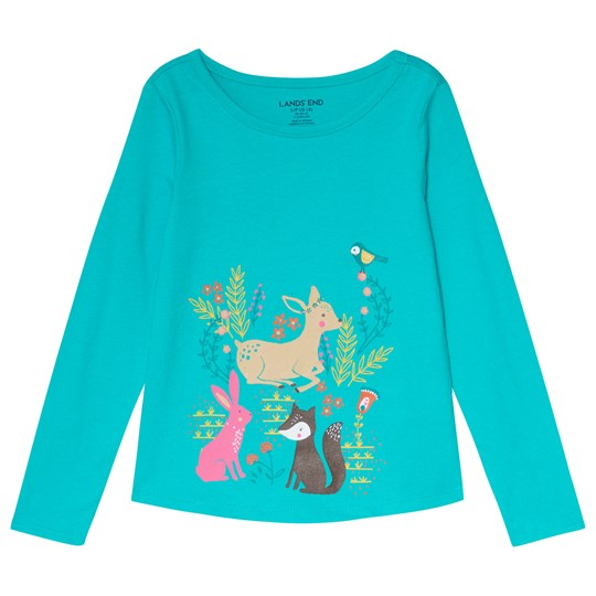 Lands' End Turquoise Forest Friends Tee A3B