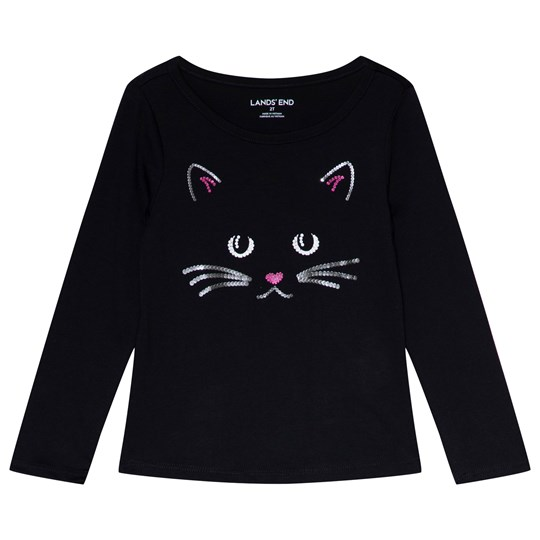 Lands' End Black Sequin Cat Tee 3RG