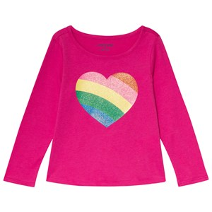 Image of Lands' End Pink Rainbow Heart Tee 10-12 years (3125284945)