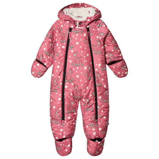 Småfolk Pink Skating Deer Print Snowsuit Rapture Rose