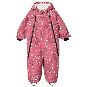 Småfolk Pink Skating Deer Print All in One Winter Coverall 6-12 months