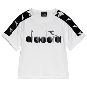 Image of Diadora White & Black Sequin Sleeve Branded T-Shirt M (10 years) (1115077)