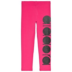 Diadora Hot Pink and Black Glitter Branded Leggings