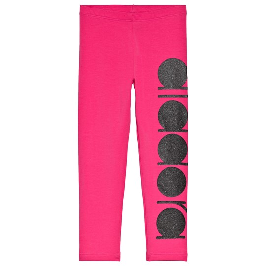 Diadora Hot Pink and Black Glitter Branded Leggings 44