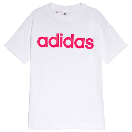 adidas Performance White and Pink Branded Tee white/super pink/super pink