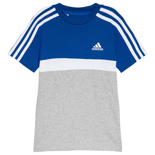 adidas Performance Blue and White Branded Tee collegiate royal/medium grey heather/white