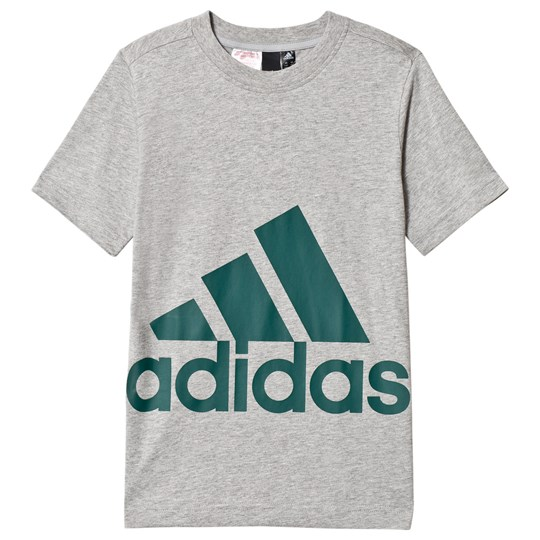 adidas Performance Grey & Green Big Logo Tee medium grey heather/noble green