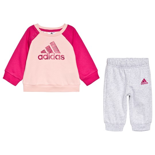 adidas Performance Pink Infants Branded Sweater & Sweatpants Set Top:haze coral/real magenta/REAL PINK S18/real mag