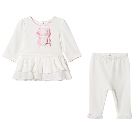 Mintini Baby White Frill Top with Legging Ivory/Pink
