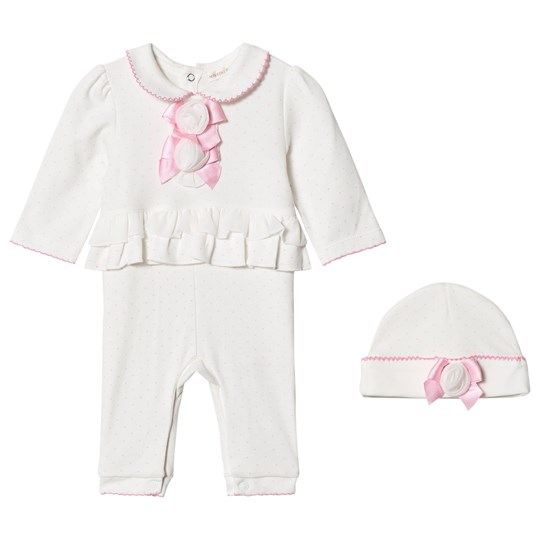 Mintini Baby White One-Piece with Frill Detail and Hat Ivory/Pink