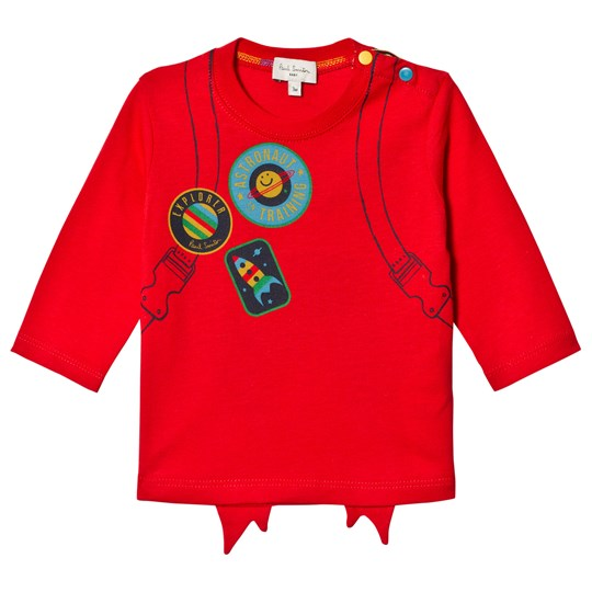 Paul Smith Junior Red Rocket Back and Front Print Long Sleeve Tee Red