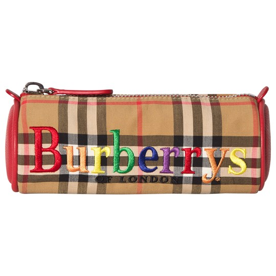 Burberry Embroidered Archive Logo Vintage Check Pencil Case ANTIQUE YELLOW