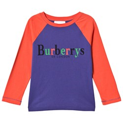 Burberry Bright Blue and Red Branded Raglan Tee