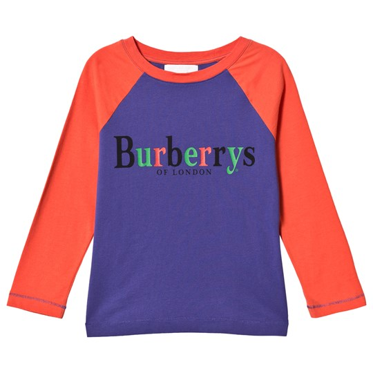 Burberry Bright Blue and Red Branded Raglan Tee BRIGHT SAPPHIRE BLUE