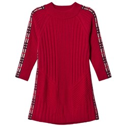 Burberry Burgundy Cathina Knit Dress with Check Detail