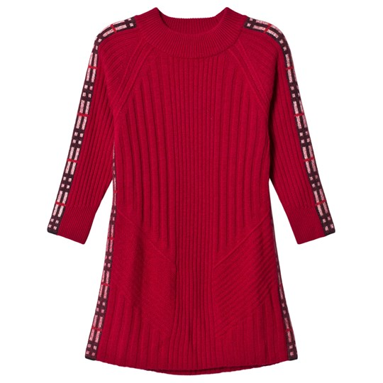 Burberry Burgundy Cathina Knit Dress with Check Detail Burgundy Red