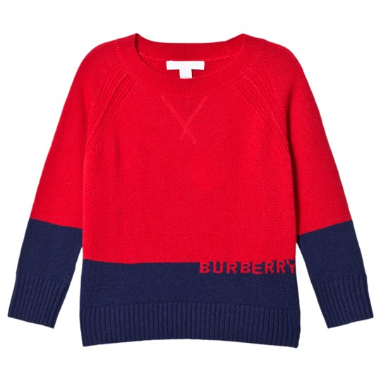 Burberry Cashmere Branded Alistair Sweater Red and Black Bright Red