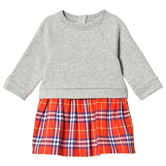 Burberry Grey Sweater & Red Plaid Skirt Dress ORANGE RED CHK
