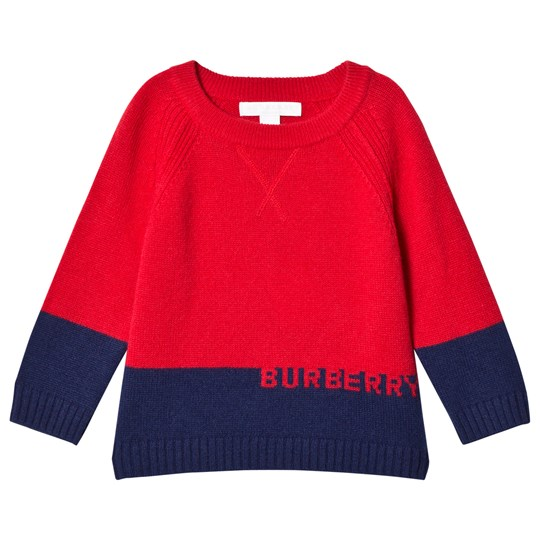 Burberry Red & Navy Cashmere Knit Sweater Bright Red