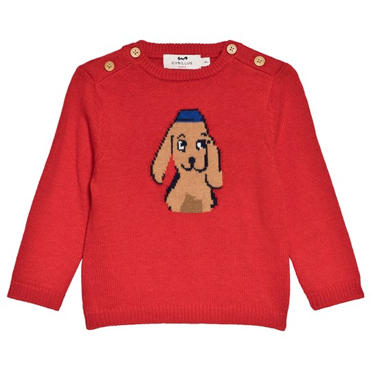 Cyrillus Red Happy Puppy Knit Sweater 6699