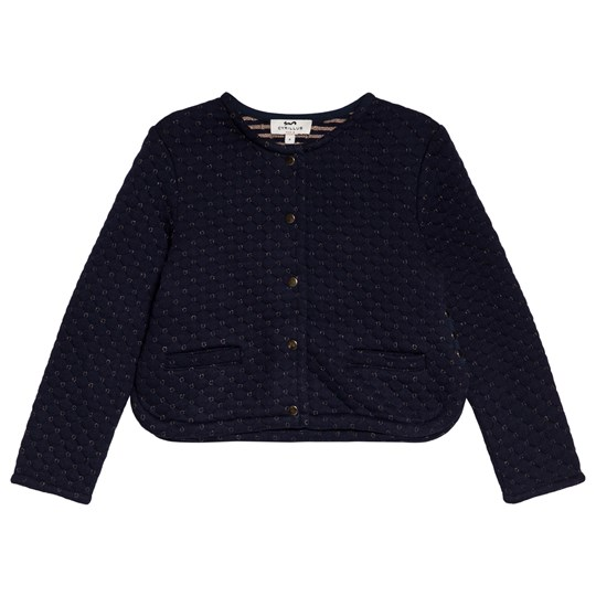 Cyrillus Navy Gold Quilted Cardigan 6369