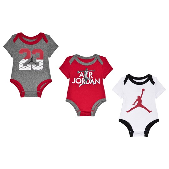 Air Jordan 3-Pack Red, Grey and White Baby Bodies R78 GYM RED