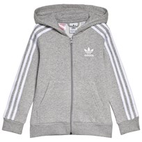 adidas Originals Grey Small Logo Full Zip Hoodie MEDIUM GREY HEATHER WHITE 76f69e27be