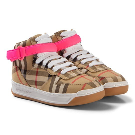 Burberry Antique Yellow and Neon Pink High-Top Sneakers ANT.YEL/NEON PINK