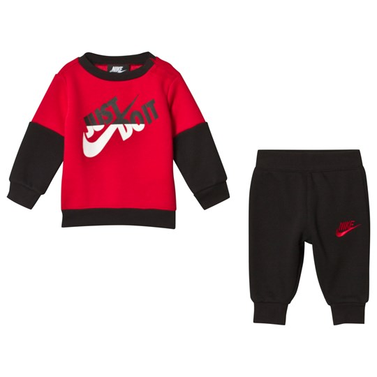 NIKE Red & Black Just Do It Sweater & Jogger Set R1N
