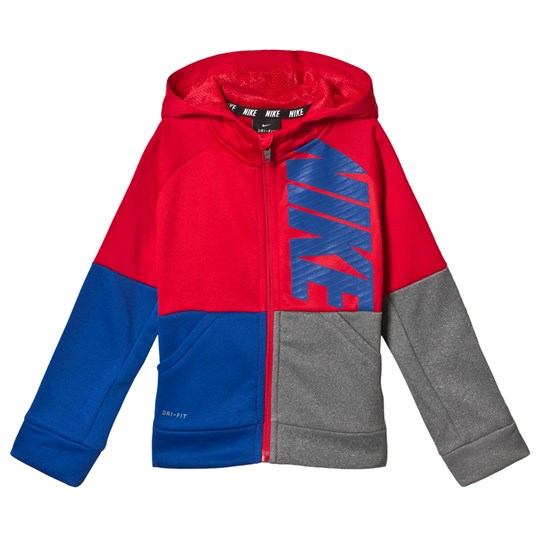 NIKE Red, Blue & Grey Color Block Hoodie U10